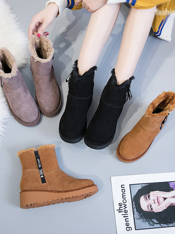 Casual Sports Fashion Platform Snow Boots - Zebrant