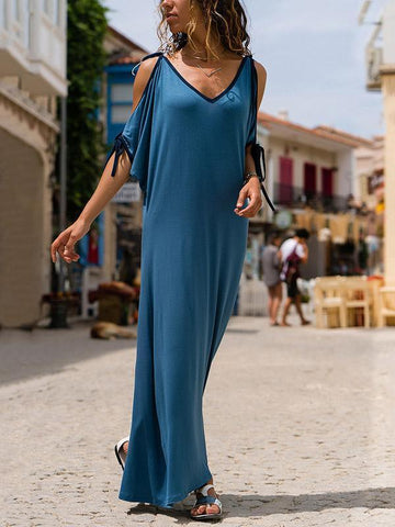 Vintage Loosen Long Dress in Blue Color