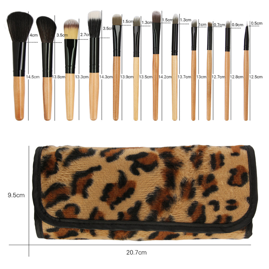 12PCS Antibacterial Synthetic Makeup Brushes Set with Carrying Bag - Zebrant