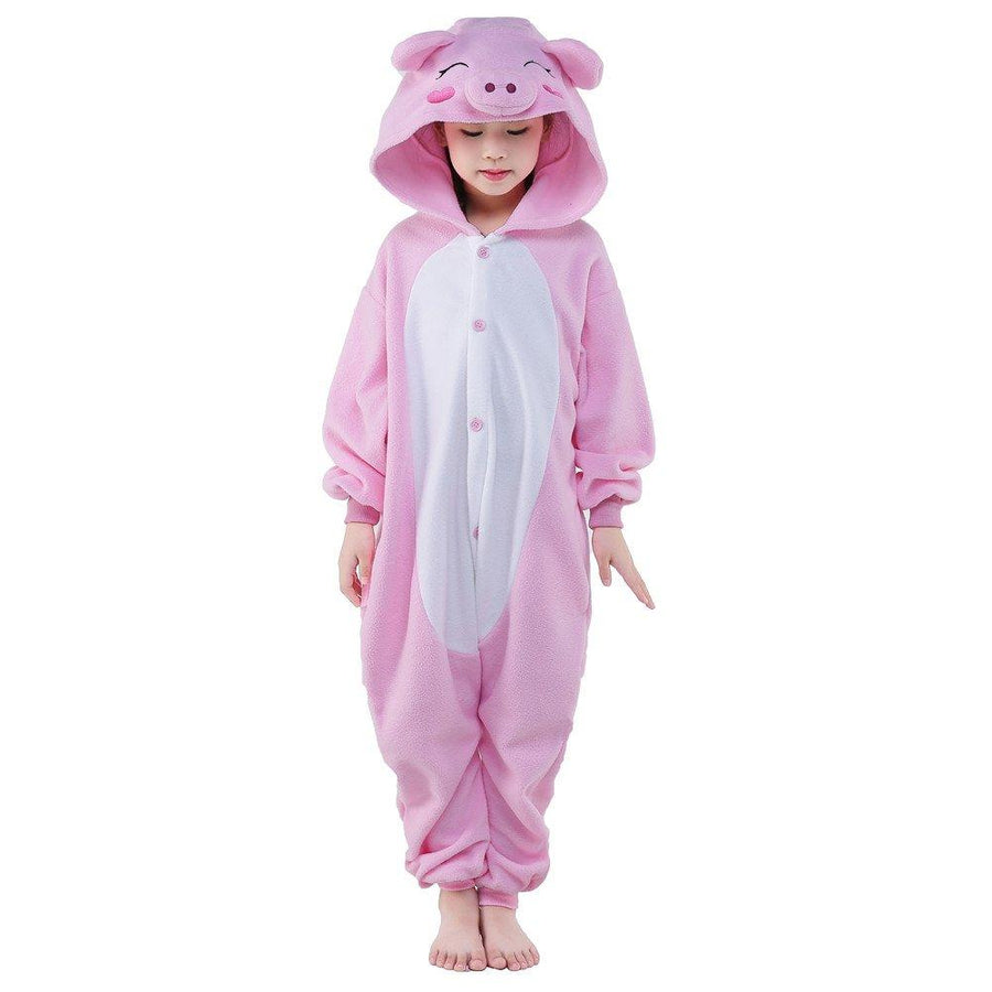 Kid's Kigurumi Pajamas Piggy / Pig Onesie Pajamas Polar Fleece Pink Cosplay - Zebrant