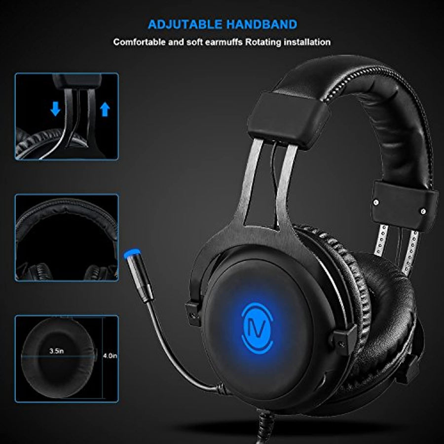 7.1 Gaming Headset Virtual Surround Sound for PC USB Computer Headset Noise Cancelling - Zebrant