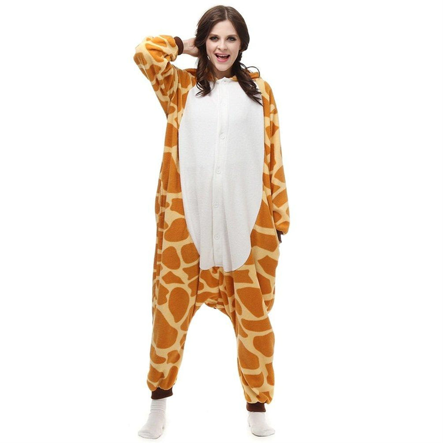 Adults' Kigurumi Pajamas Giraffe Onesie Pajamas Flannel Toison Orange Cosplay - Zebrant