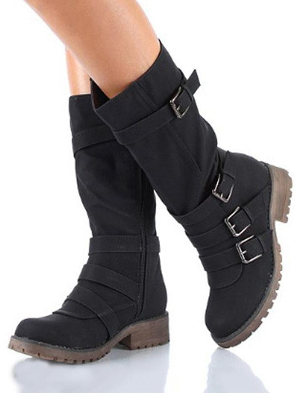 Fashion Low-heel Bandage Boots Shoes - Zebrant