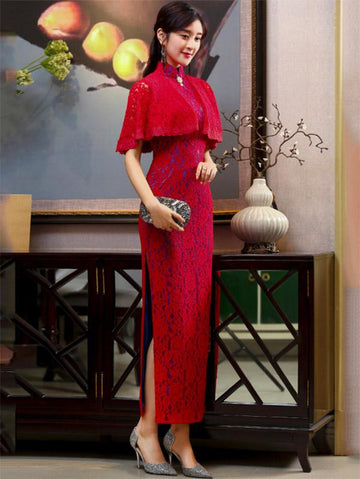 3 Colors Banquet Lace Split-side Long Cheongsam - Zebrant