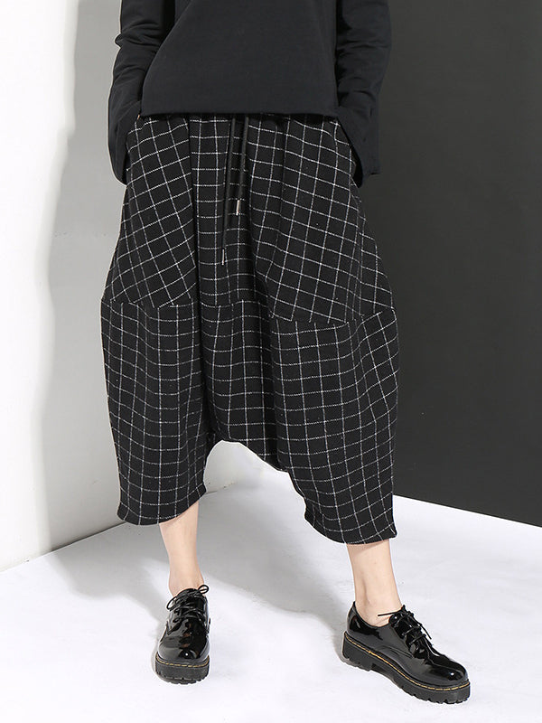 DROP-CROTCH WOOLEN PLAID CASUAL HAREM PANTS - Zebrant