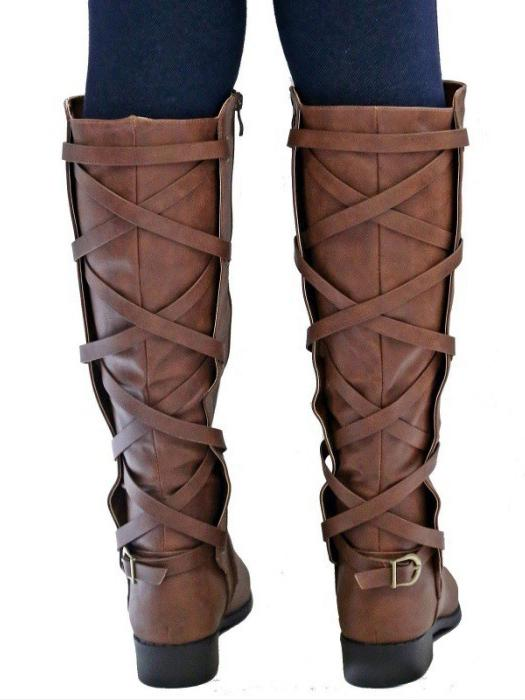 Fashion Bandage Thigh-high Low-heel Boots Shoes - Zebrant