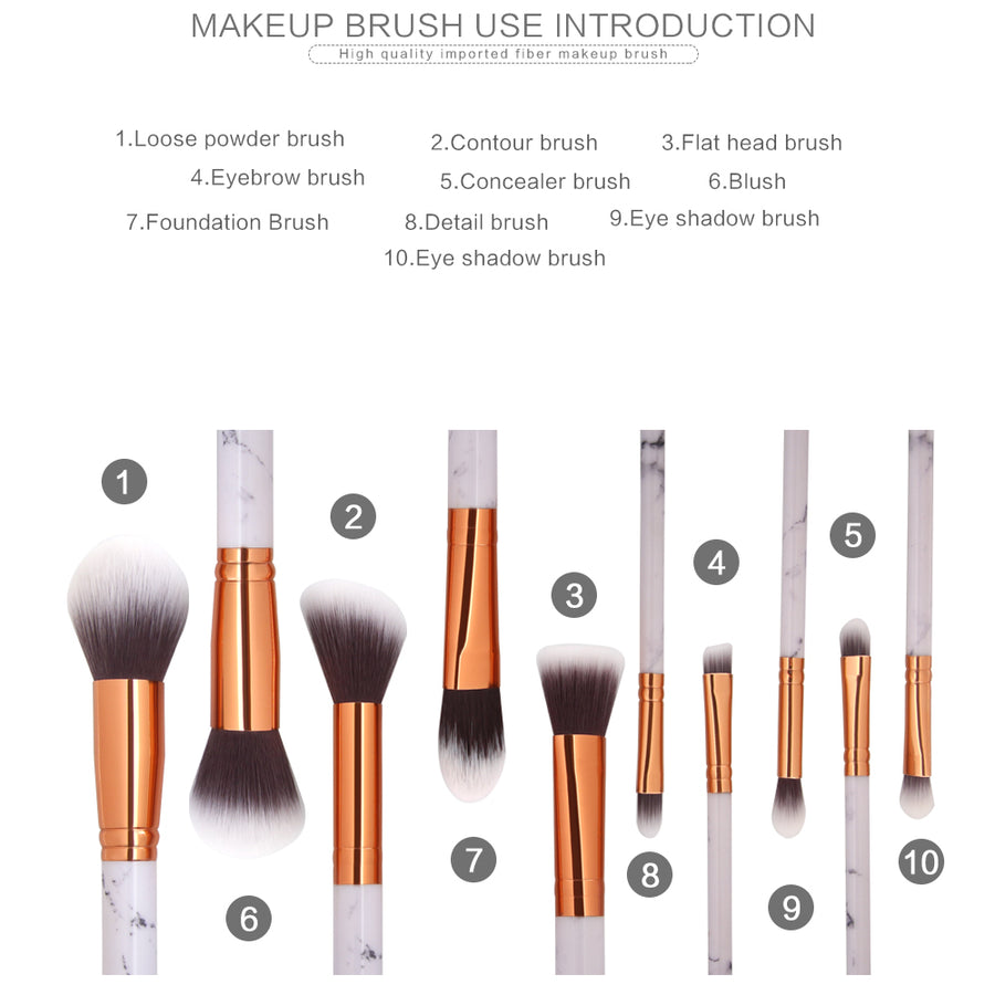 Makeup Brushes 10 Pieces Marble Makeup Brush Set with Makeup Brush Bag