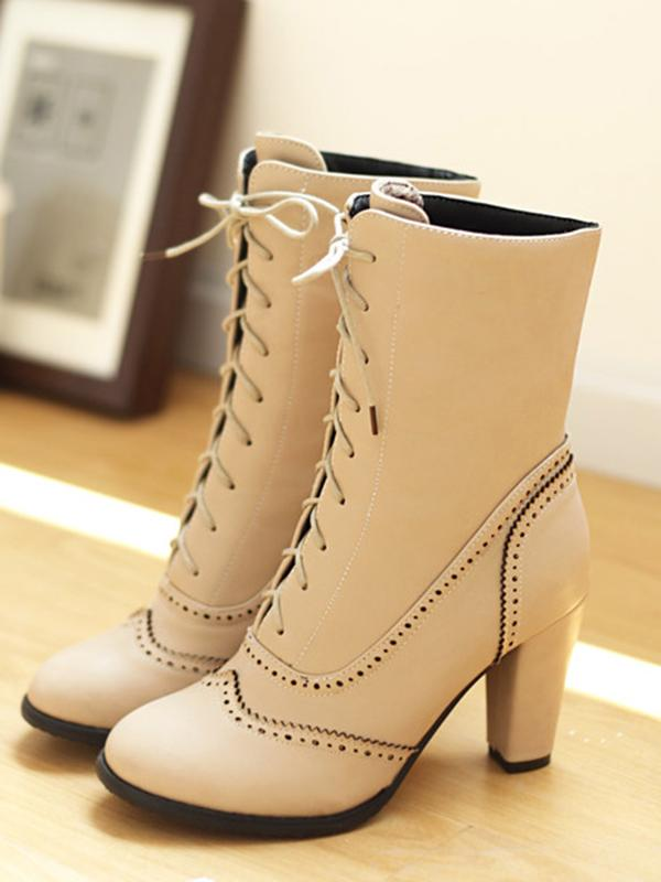 Fashion Bandage High-heel Boots Shoes - Zebrant