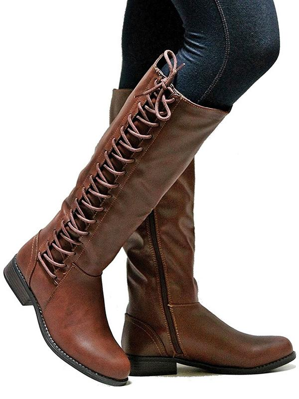 Fashion Solid Color Bandage Thigh-high Low-heel Boots Shoes - Zebrant