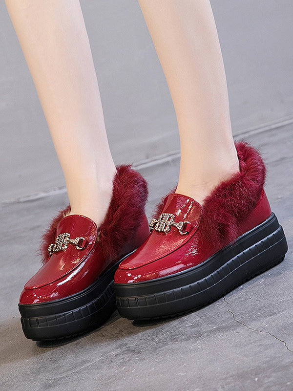 High Platform Buckle Sponge Artificial Rabbit Fur Shoes - Zebrant