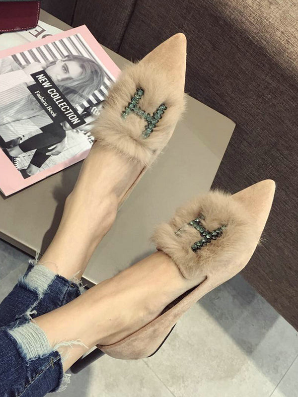 Rhinestone H Letter Artificial Fur Pointed Shoes - Zebrant