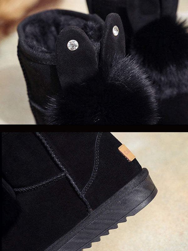 Cute Rabbit Ears Fox Fur Ball Snow Boots Uggs - Zebrant