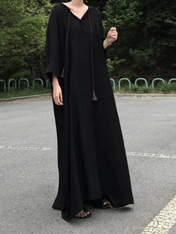 Black Vintage Daily Long Dress with Ropes on the Neck - Zebrant