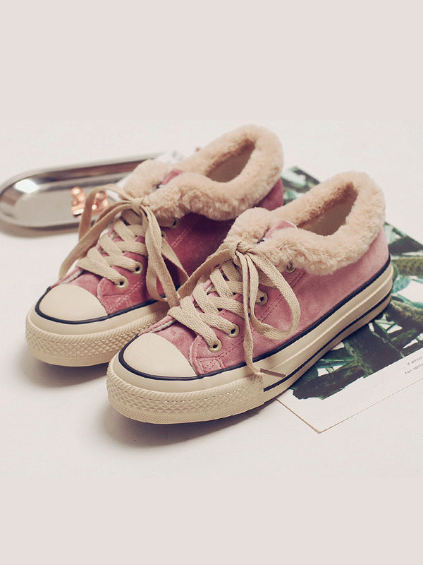 Female Artificial Fur Canvas Shoes Sneakers