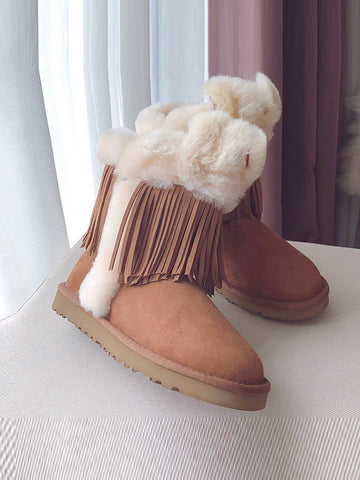PU Leather Tassel Middle Tube Plus Booties Uggs