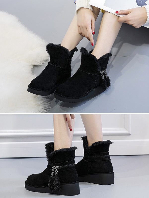 Autumn And Winter Wedges Snow Boots - Zebrant