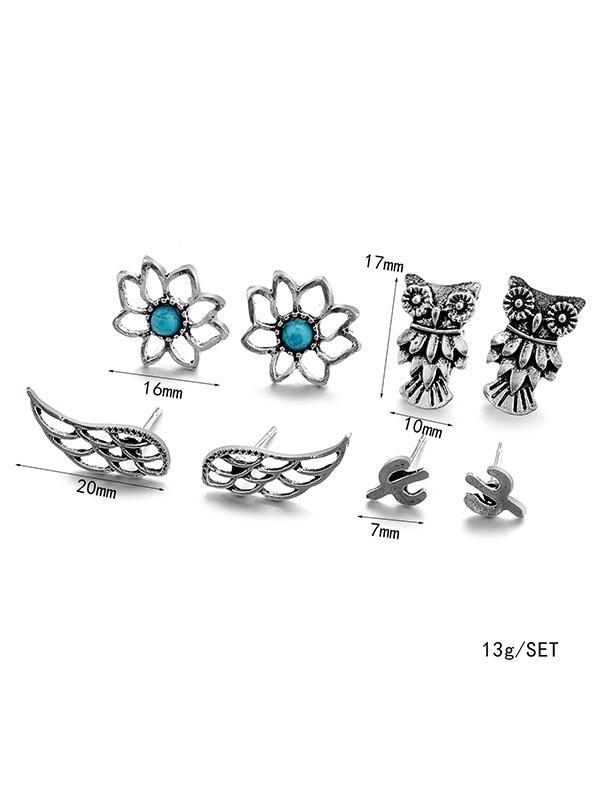 8pcs Vintage Silver Earrings Accessories - Zebrant