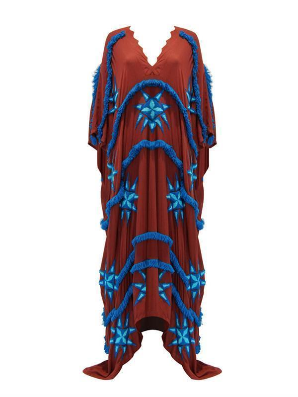 Tasseled Split-joint Kaftan Dress - Zebrant