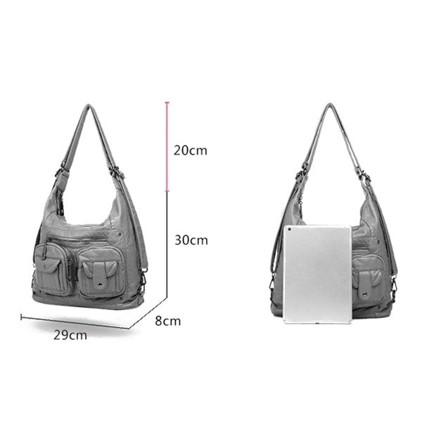 Multi-pockets Backpack Solid Multi-carry Crossbody Bag - Zebrant