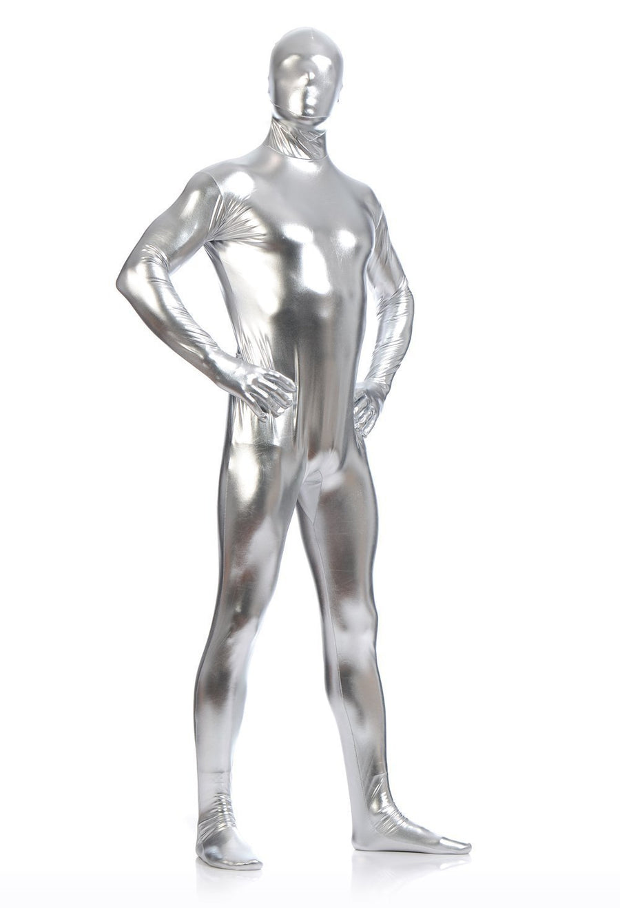 Men's Shiny Metallic Zentai Full Body Suit - Zebrant