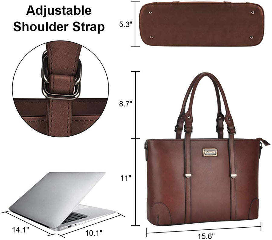 Laptop Bag,Work Tote Bag Fits Up to 15.6 Inch Laptop Tablet for Women Business Travel - Zebrant