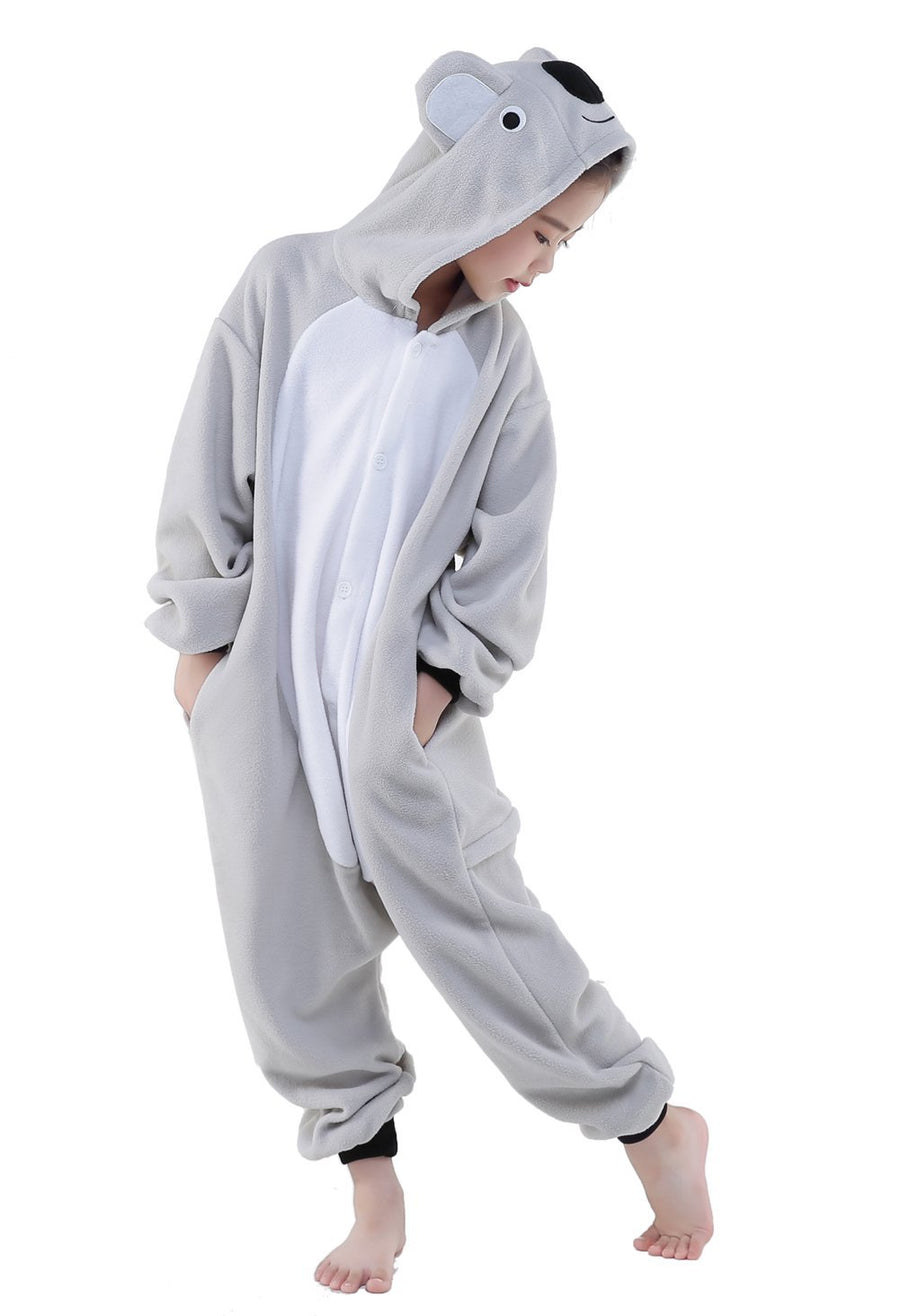 Kid's Kigurumi Pajamas Koala Onesie Pajamas Polar Fleece Gray Cosplay - Zebrant
