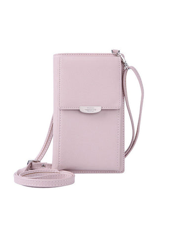 Leisure Phone Purse Multi-function Solid PU Leather Crossbody Bag