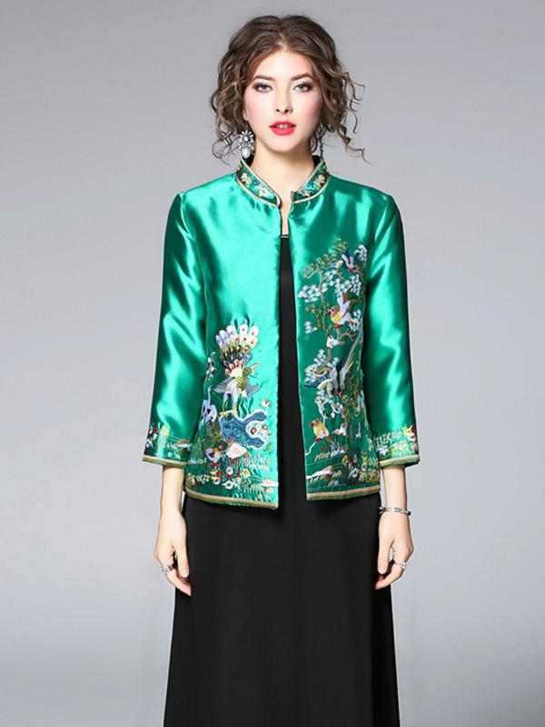 Green Embroidered Cheongsam Tops Outwears - Zebrant