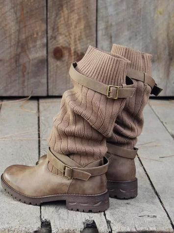 Fashion Knitting Mid Calf Boots - Zebrant