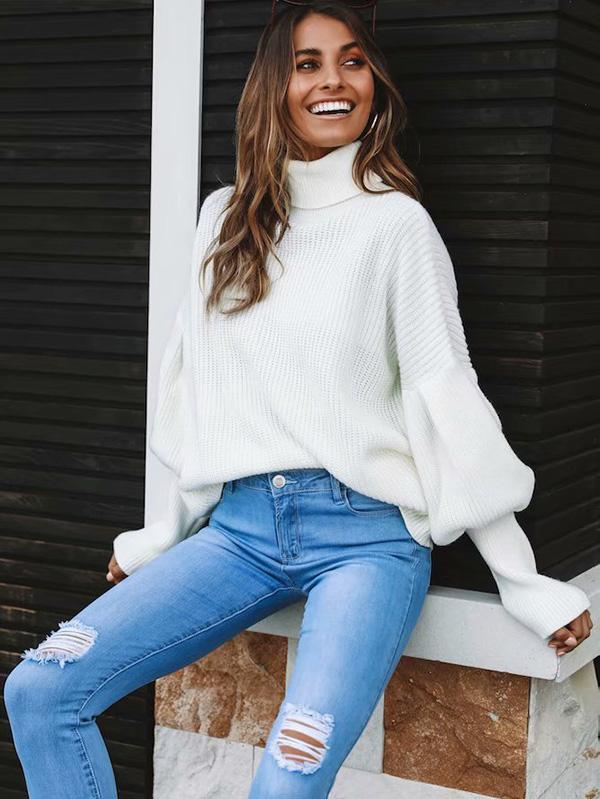 Comfortable Cotton Puff Sleeve Sweater - Zebrant