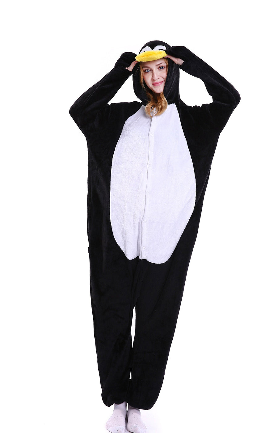 Adults' Kigurumi Pajamas Penguin Onesie Pajamas Polar Fleece Black / White Cosplay - Zebrant