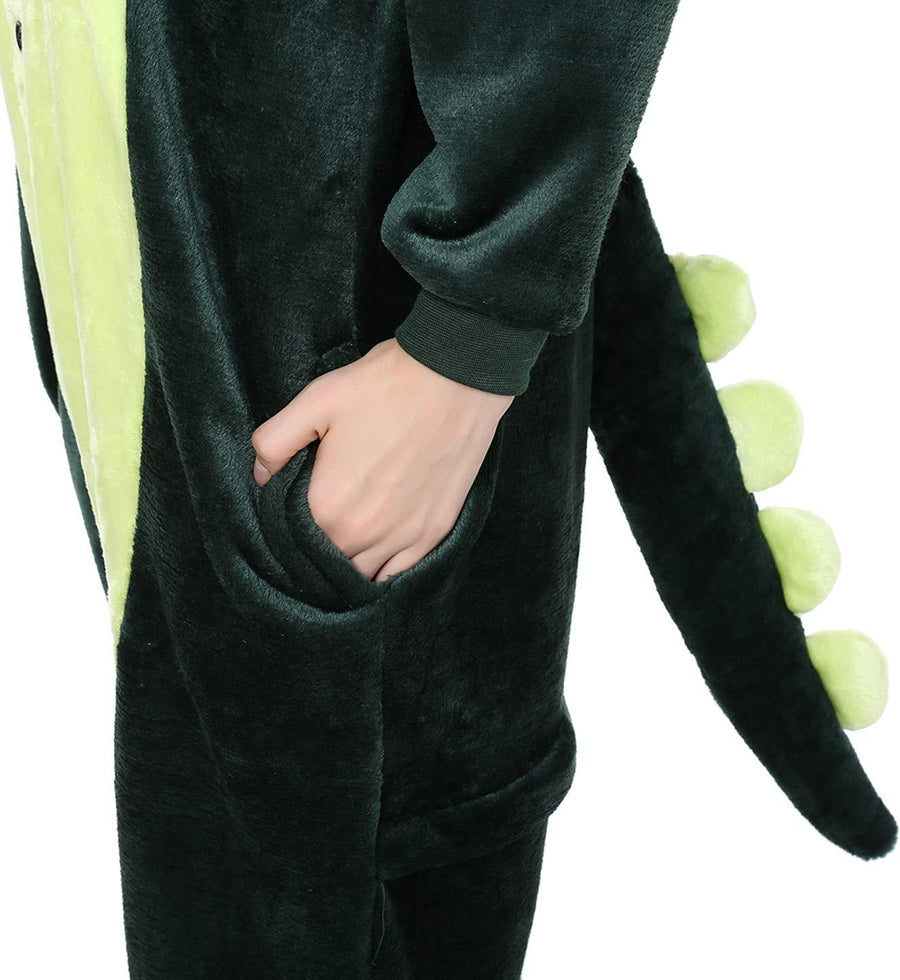 Kigurumi Pajamas Dinosaur Adults' Onesie Pajamas Polar Fleece Dark Green Cosplay - Zebrant