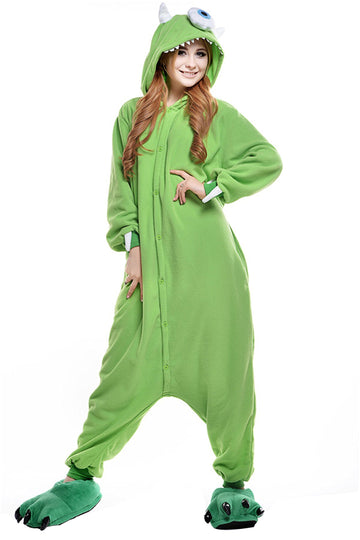 Adults' Kigurumi Pajamas One-Eyed Monster Onesie Pajamas Polar Fleece Green Cosplay - Zebrant