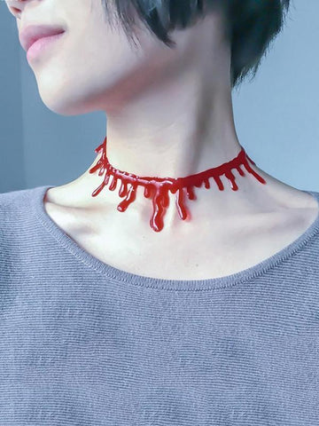 3PCS Halloween Decoration Horror Blood Drip Vampire Fancy Necklace - Zebrant