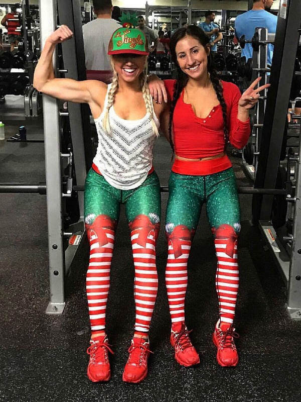 Christmas Striped Leggings ACTIVE WEAR - Zebrant
