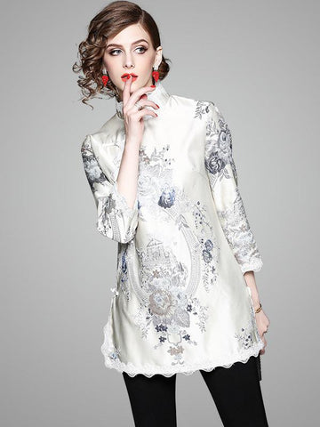Oriental Style Top Dress with High Collar and Floral Print