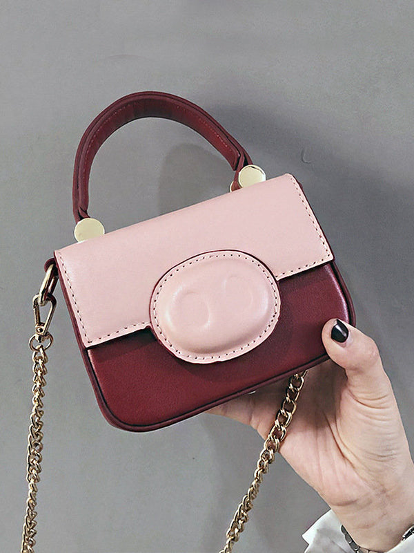 Women Cute Pig Pattern Bag Patchwork Chain Crossbody Bag - Zebrant