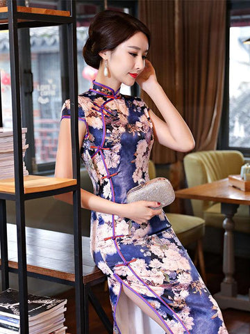 Flower Print Long Cheongsam Dress - Zebrant