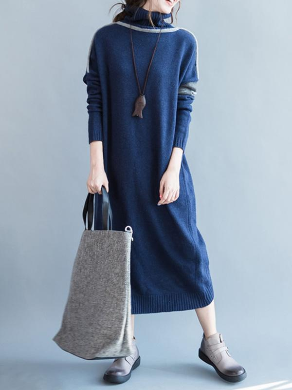 Casual Long Dress in Dark Blue or Light Blue Color