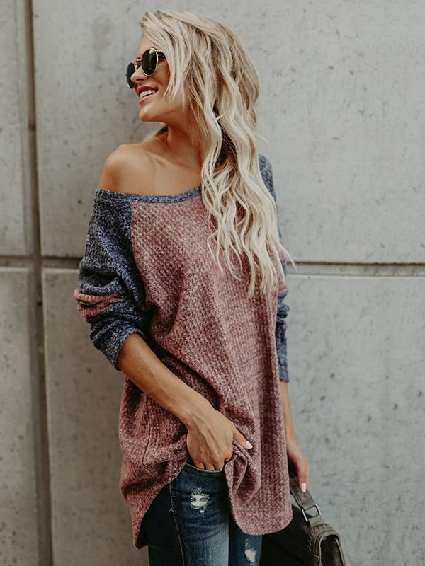 Fashion Long Sleeves V-neck Sweater Tops - Zebrant