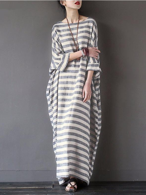 Original Loosen Long Casual Dress in Stripes - Zebrant