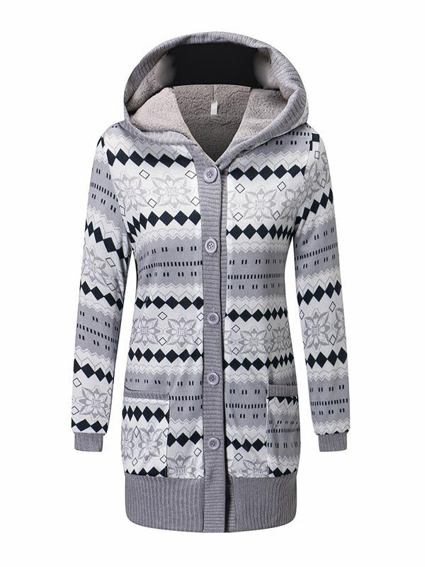 Casual Hooded Printed Warm Outwears - Zebrant