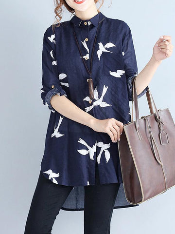 Little Bird Printed Loose Cotton Blouse Shirt