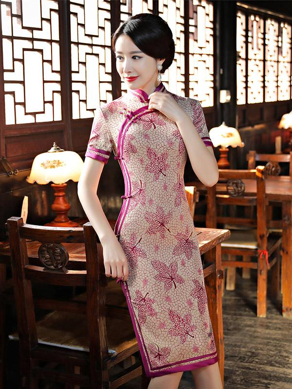 Fuschia Leaves Print Long Cheongsam