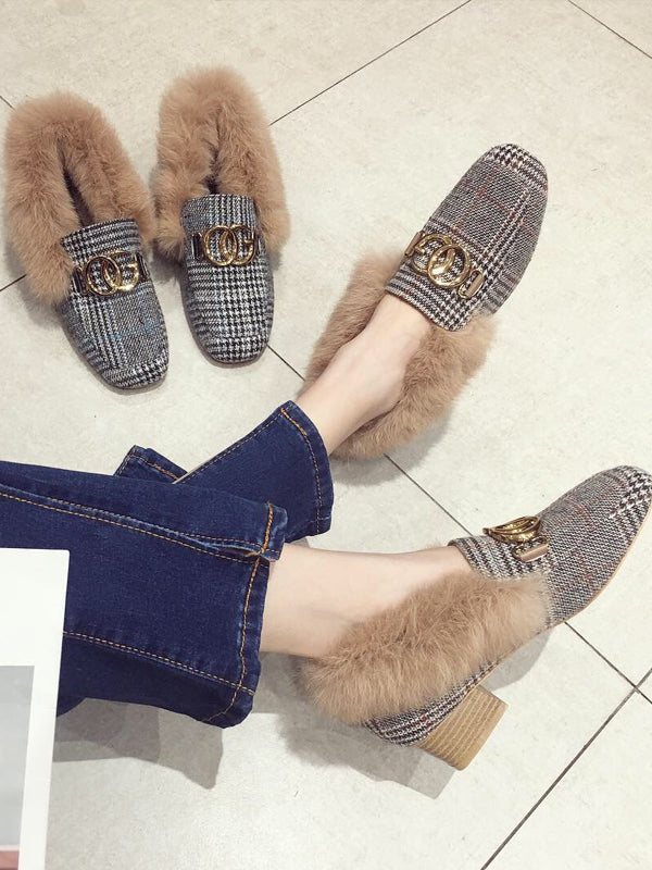 Metal Buckle Plus Shoes with Artificial Fur - Zebrant