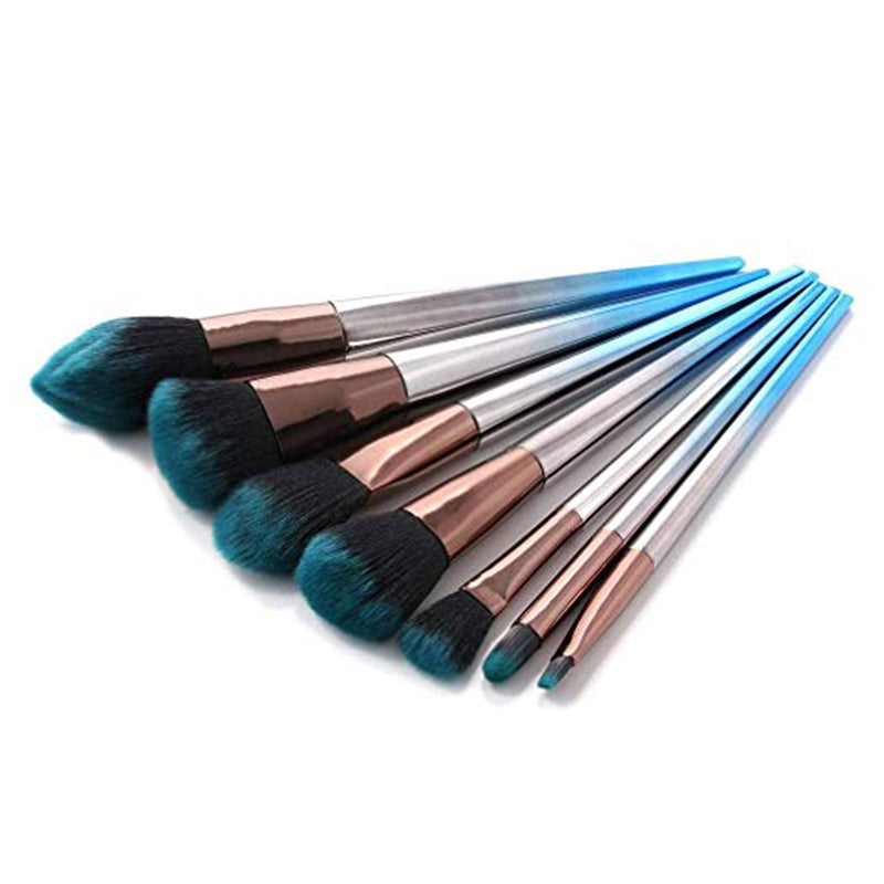 7 Pcs Makeup Brushes Set Gradient Gemstone Blue Cosmetic Brush Tools - Zebrant