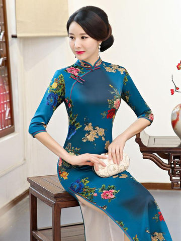 National Flower Printed Long Cheongsam