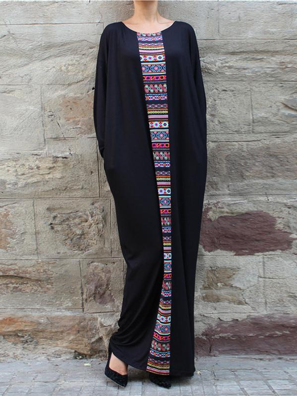 Bohemia Casual Authentic Loosen Long Dress with Frontal Ornament