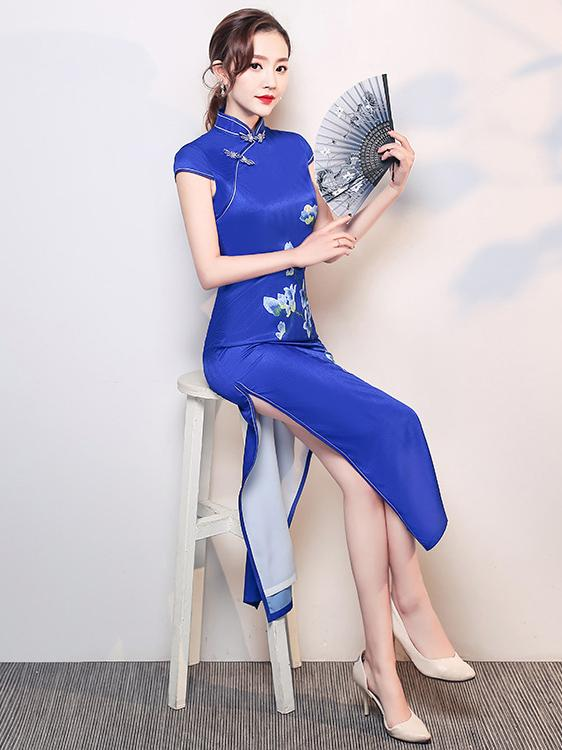 Blue Flower Side Split Long Cheongsam - Zebrant