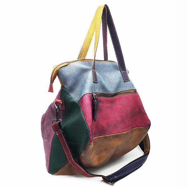Genuine Leather Cowhide Retro Handmade Stitching Bag - Zebrant